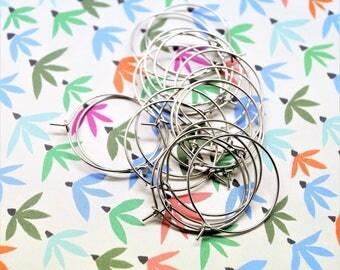 Set of 20 ring rings earrings silver gun earrings, 25 mm