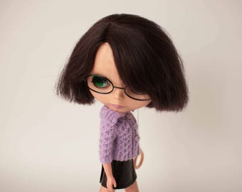 Light lilac cardigan for Blythe doll, Knitted lilac doll sweater, Cute middie blythe dress, Wool short sleeve jumper, Lilac Blythe knitwear