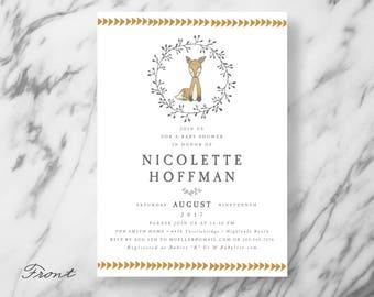 Fox Baby Shower Invitation - Birthday Invitation - Woodland Creature - Woodsy - Forest - Fox theme - First Birthday - Birthday Party