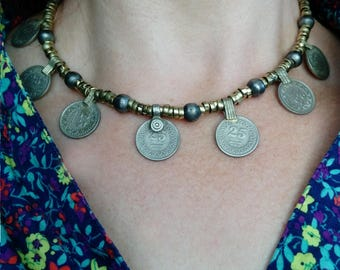 "25"" Boho Coin Necklace Choker Pretty Tribal Style ATS Fusion Bohemian Jewelry"