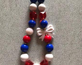 Patriotic chunky bubblegum necklace