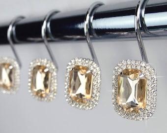 Delightful Shower Curtain Hooks Rings   Luxurious Champagne Beige Yellow Gold Diamond  Decorative Crystal Rhinestone Bathroom Decor