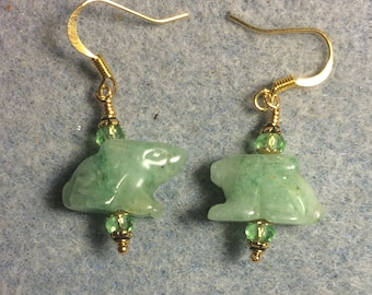 Light green aventurine gemstone Zuni rabbit fetish bead earrings adorned with light green Chinese crystal beads.