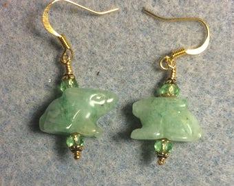 Light green aventurine gemstone Zuni rabbit fetish bead earrings adorned with light green Chinese crystal beads.