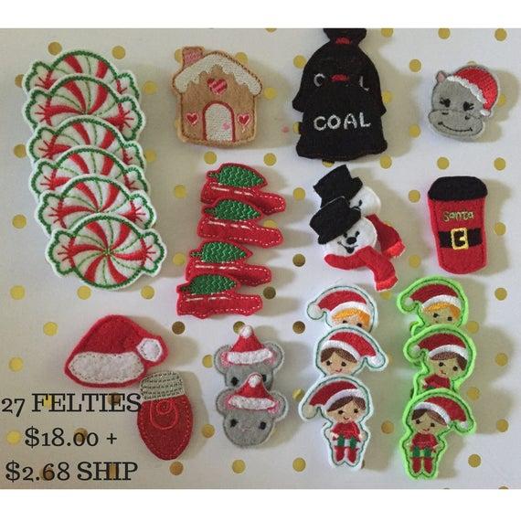 Christmas Felties/Felt Embellishments/Planner Supplies/Holiday Feltie/Wholesale Felties/Bow Embellishments