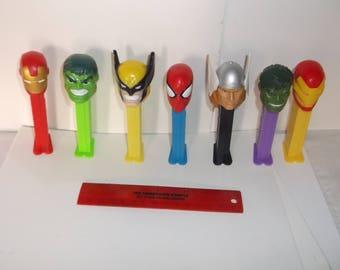 pez dispensers-lot of 7-marvel comics plus-1990s-GD