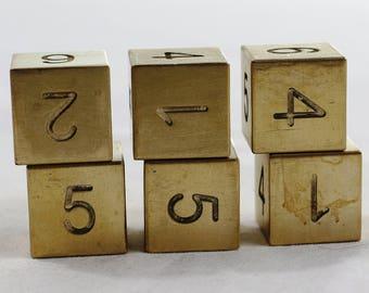 Zucati Dice: Brass 6d6 Set Square Corners