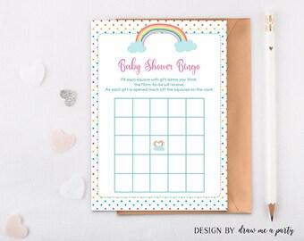 Rainbow Baby Shower Bingo , Rainbow Bingo Cards , Baby Bingo Game , Baby Shower Activity , Printable , Instant Download