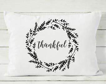Thanksgiving Pillow - Thankful Pillow - Fall Pillow Cover - Decorative Throw Pillow Cover