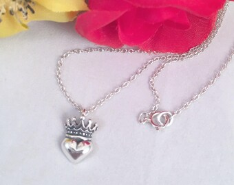Irish Claddagh Sterling Heart Crown Necklace, Sterling Silver Small Heart and Crown Necklace, Claddagh Crown/Heart Necklace, Heart Necklace