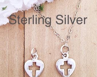 Sterling Cross Heart Charm Necklace or Earrings, Dainty Cross Heart Charm Hoop Add On, Silver Cross Charm, Sterling Cross Necklace Charm