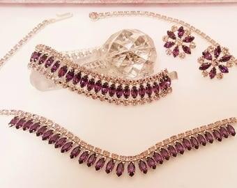 "Free Ship* Vintage ""B David"" Rhodium Purple Crystal Rhinestone Parure Necklace Bracelet Earrings Set Mid Century Costume Jewelry Acessories"