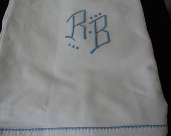 French vintage metis linen bed sheet with blue embroidered initials (04857-58)