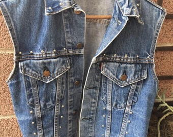 Vintage 60's LEVI'S BLUE Distressed Denim Jean Jacket Vest Size M With Studs
