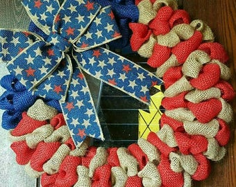 American Flag Wreath, Patriotic Wreath, Fourth of July Wreath, 4th of July, Burlap Flag Wreath, American Flag, 4th of July Wreath, Military
