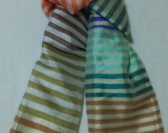 SUMMER BLOWOUT SALE...thru 07/15/17!...Women's Handwoven Ethiopian Multicolored Lustrous Striped Cotton Scarf