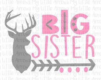 SALE- Deer head big sister silhouette SVG, DXF, Eps, png Files for Cutting Machines Cameo or Cricut - new big sister svg - deer svg cut file