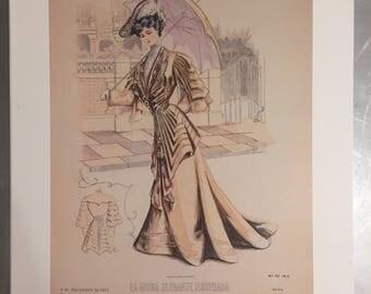 La moda elegante illustrada lithograph victorian fashion print