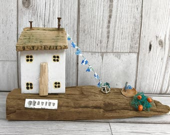 Little wooden house, reclaimed wood art, nautical decor, unique gift, wooden ornament, handmade gift, recycled art, bathroom decor, seaside