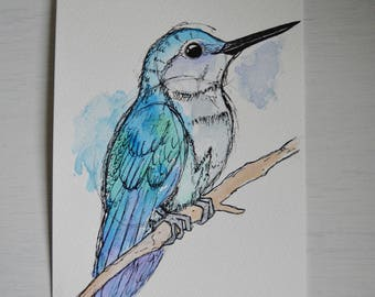 Hummingbird Watercolour and Ink - Unique, hand painted
