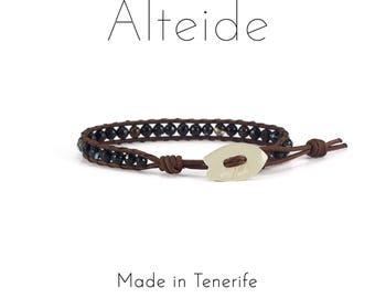 Anklet Benijo - Alteide - made in Tenerife - surf inspired - 925 Silver - man woman - Black Agate