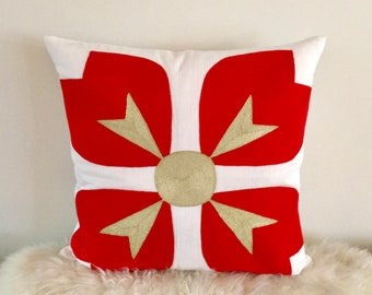 Lou Lou  Embroidered Pillow-Persimmon