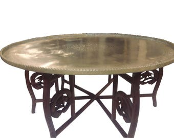 Hollywood Regency Asian Brass Tray Table Moroccan Brass Folding Coffee Table  Middle Eastern Brass Coffee Table