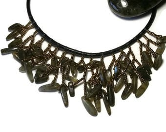 statement of labradorite on leather cord necklace