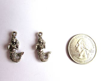 2 Silver Mermaid Charms, Mermaid Jewelry Charms, Fantasy Charms, Silver Charms, Silver Jewelry, Sea Charms, Mythical Charms, Jewelry Supply