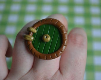 Polymer clay The Hobbit inspired Bilbo Baggin's door ring or pendant