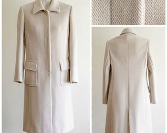 Ivory princess seamed coat with herringbone pattern