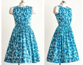 1950s blue sleeveless fit and flare dress