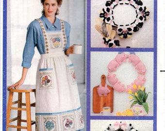 Wendy Everett 80s Butterick Sewing Pattern 4164 Wreaths Apron Jacket