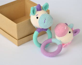 Unicorn Rattle, Set of Baby Rattles, Boy Teething Toy, Fairytale-Gift, Pregnancy Photoshoot, Crocheted Unicorn, Crocheted Rattle, Gift Idea