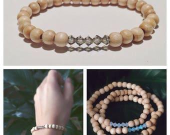 Wood and Crystal Bracelet
