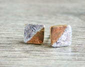 Gold Earrings With Silver Leaf Jewelry for Women, Geometric Jewelry, Yellow Gold Cube Studs, Artisan Jewelry, Tiny Silver & Gold Studs
