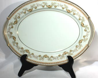 Noritake China Pattern 5316 Serving Platter, Brown Laurel, Rose Leaves, Gold Trim, Dinnerware, Tableware, Dining Service