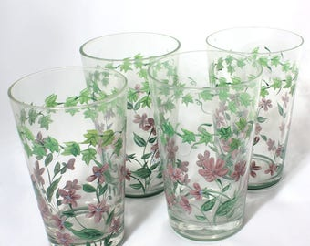 Set of 4 Hand Painted Eight Ounce Tumblers, Pink Flowers with Green Ivy, Country Chic