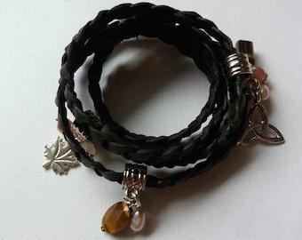Dark brown braided leather wrap bracelet.
