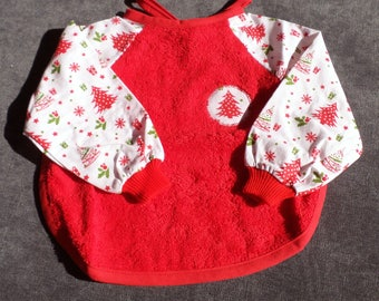 Noël spécial bavoir à manches fait main 6/12 mois- Christmas special handmade bib with sleeves 6/12 months