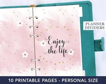 Planner dividers, printable planner, planner tabs, planner dashboard, planner cover, watercolor planner, personal planner kit, agenda refill