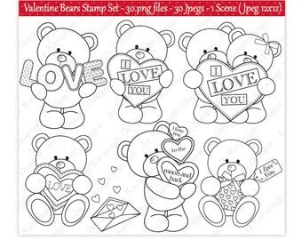 Valentine Digital Stamps,Digital Stamps,Valentine Bear Digital Stamps,Cute Bear Stamps,Valentine Clipart,Valentine Stamps,Commercial Use