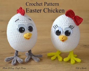 Easter chicken crochet pattern Crochet baby chick Crochet egg girl Crochet chicken pattern Digital download