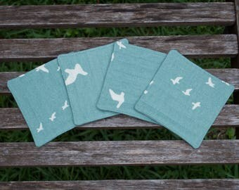 Organic Set of 4 Coasters - Birds in Flight, Mineral