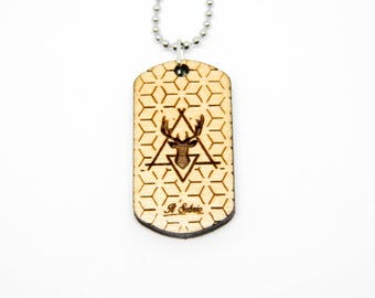Dogtag Wood deer geometric hipster boho fashion