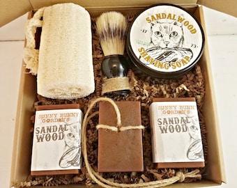 Sandalwood Shaving Soap, Mens Shave Soap Gift Box, Gifts For Men, Shaving Soap Jar, Fathers Day Gifts Old Fashioned Shave Soap Mens Gift Box