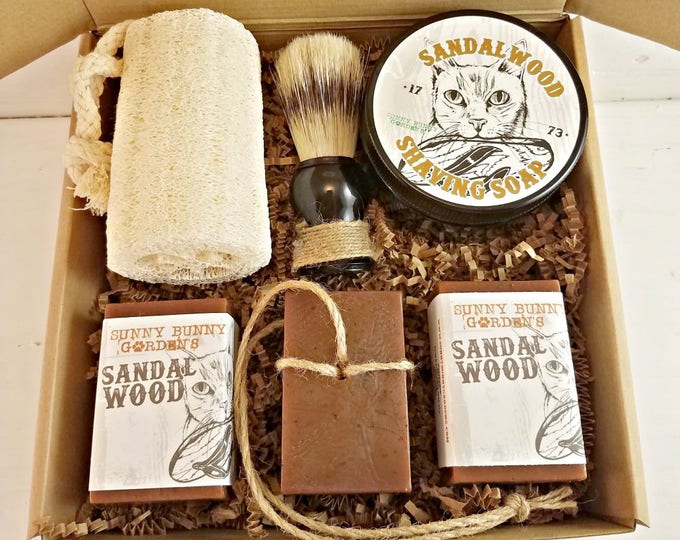Sandalwood Shaving Soap, Mens Shave Soap Gift Box, Gifts For Men, Shaving Soap Jar, Fathers Day Gifts Old Fashioned Shave Soap Mens Gift Box