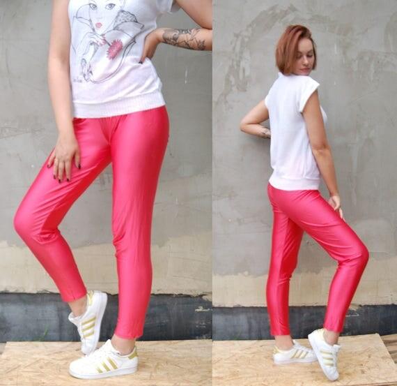 Vintage 80s Neon Pink Leggings Lycra Yoga Pants Tights