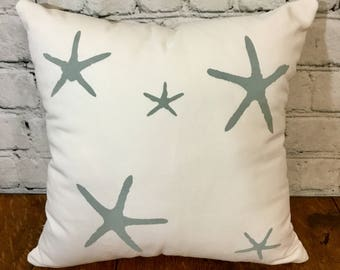 Starfish Stenciled Pillow Cover, White and Teal/Turquoise, 15x15, Nautical Pillow Cover, Beachy Pillow Cover, Coastal Pillow Cover
