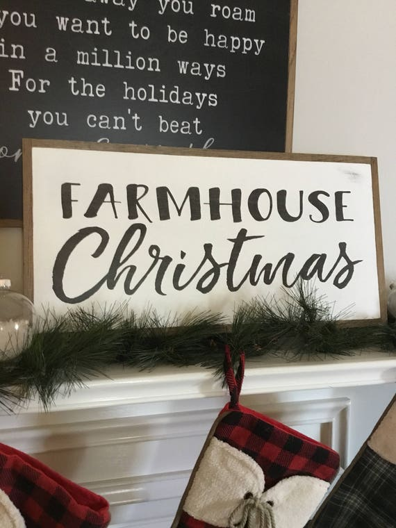 FARMHOUSE CHRISTMAS 1'X2'  | distressed rustic wall decor | painted shabby chic wall plaque | framed farmhouse sign | Holiday decoration